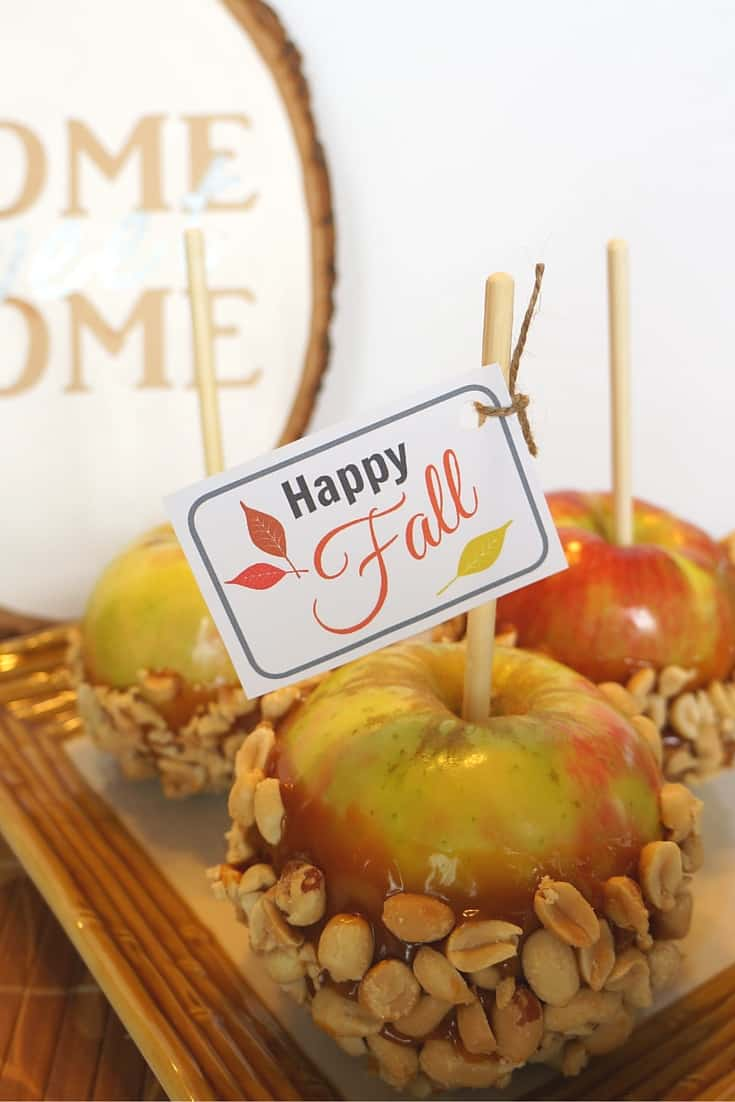 A simple fall gift. Caramel apples with peanuts and free fall gift tags