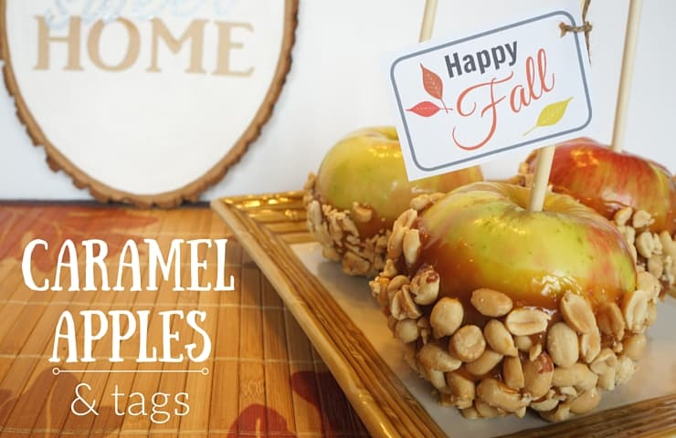 Simple fall caramel apples with printable gift tags