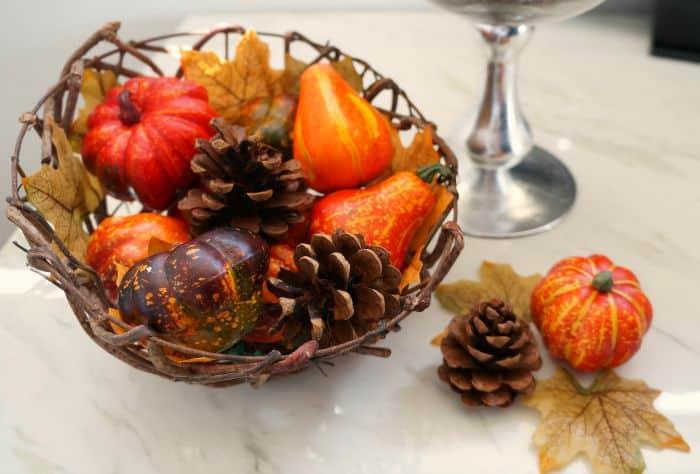 Pumpkins and pine cones fall decor