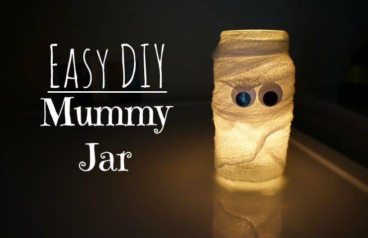 Easy DIY Halloween mummy jar