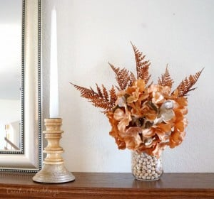 Simple fall decor. Fill a mason jar with dried beans and add stems.