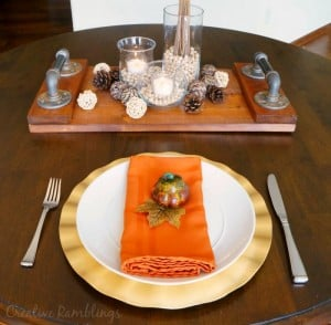 Warm and neutral fall centerpiece and table setting