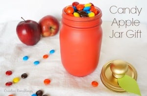 Red apple mason jar gift filled with yummy candy