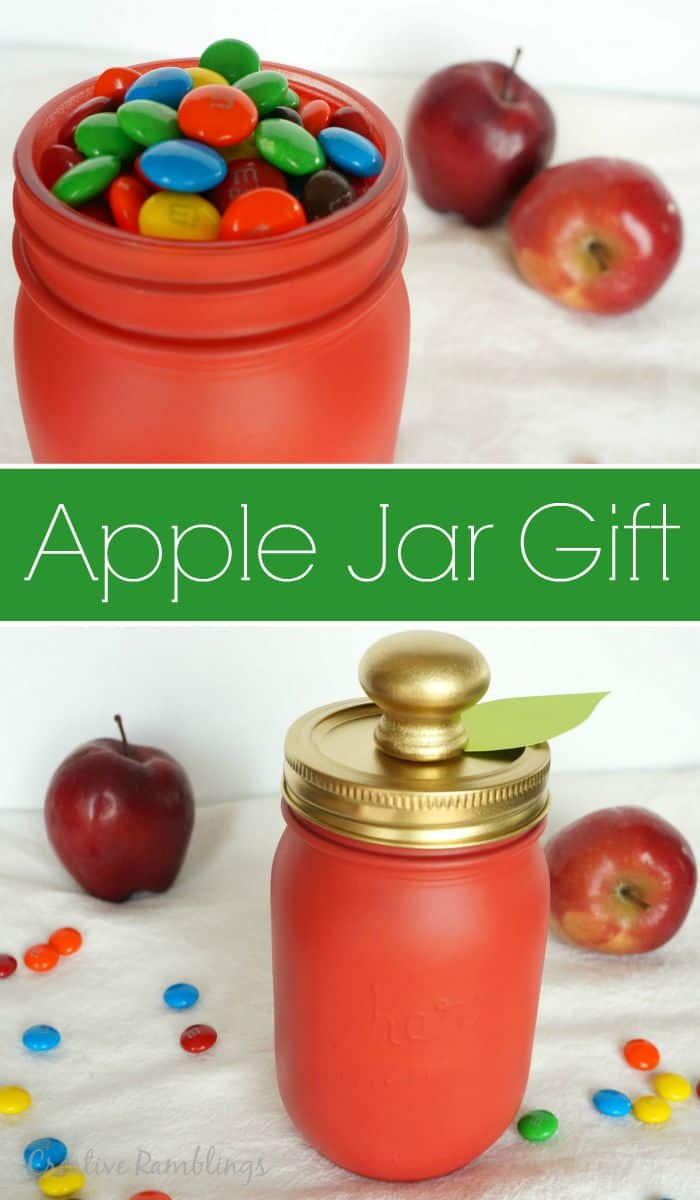 Create this red apple mason jar gift filled with candy. A perfect fall or school gift.