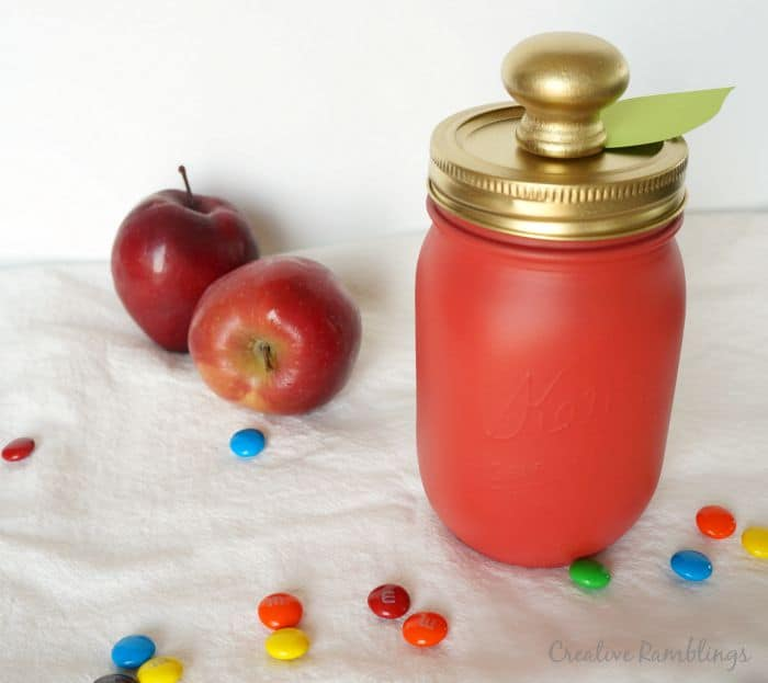 Candy apple mason jar gift, a fun red and gold gift for school or fall.