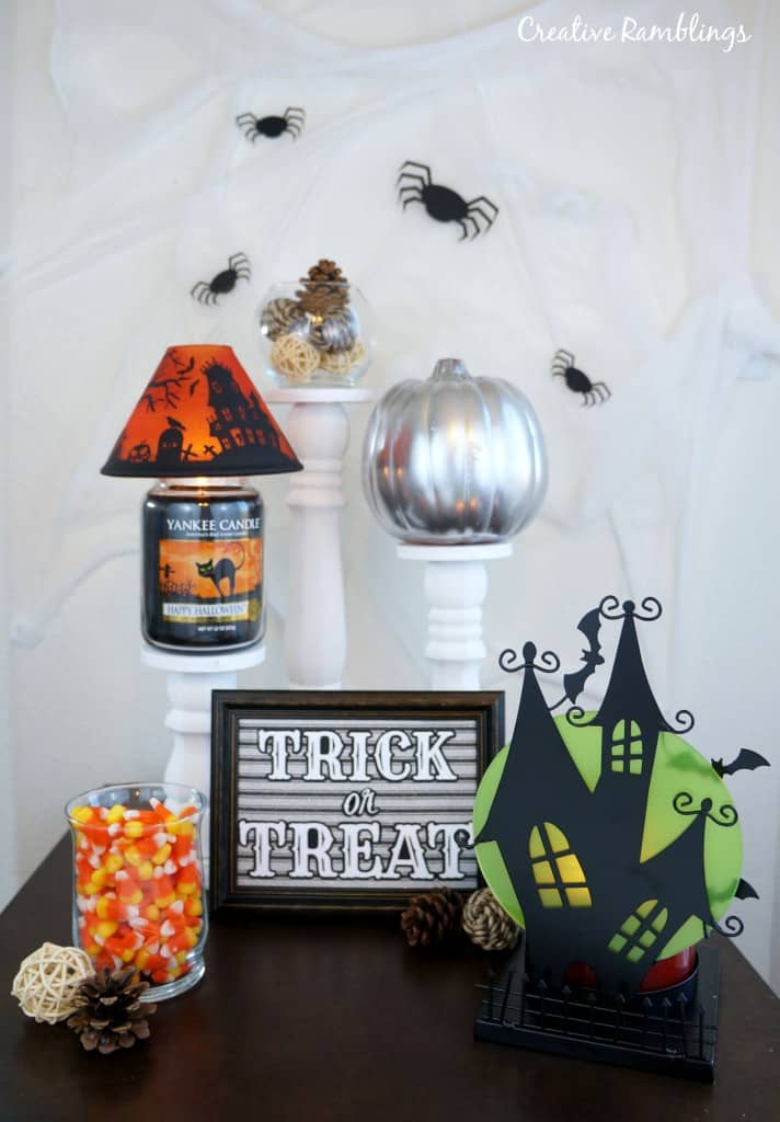 Simple and Spooky Halloween decor using DIY pieces and candles AD