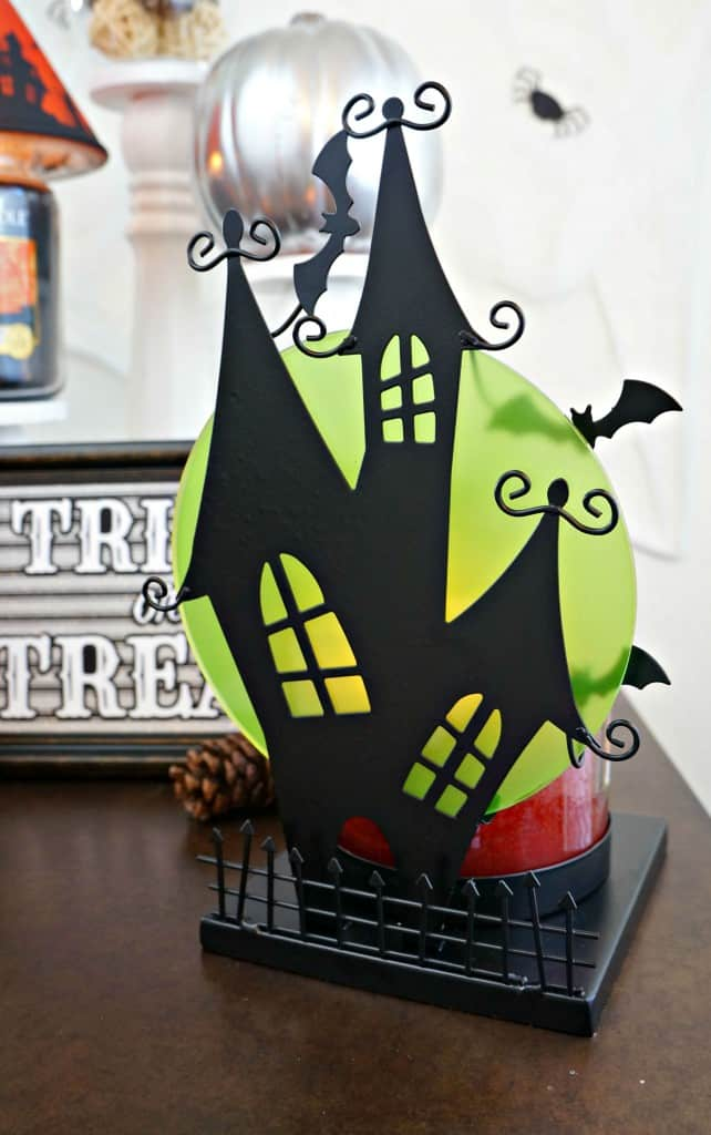 Simple and spooky Halloween home decor, haunted house silhouette jar candle holder