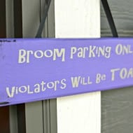 Easy Halloween Broom Parking Sign