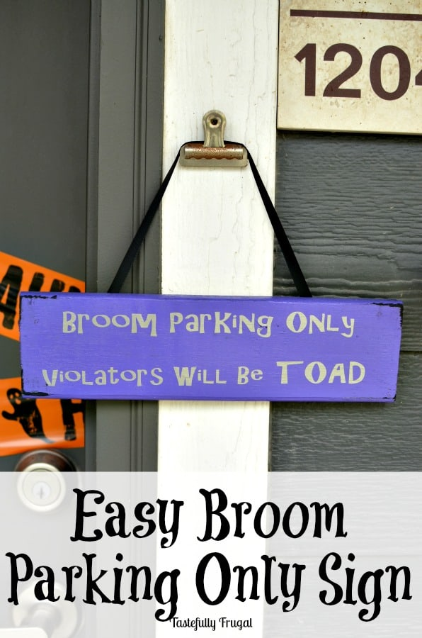 Easy Halloween painted sign.  Broom Parking Only.