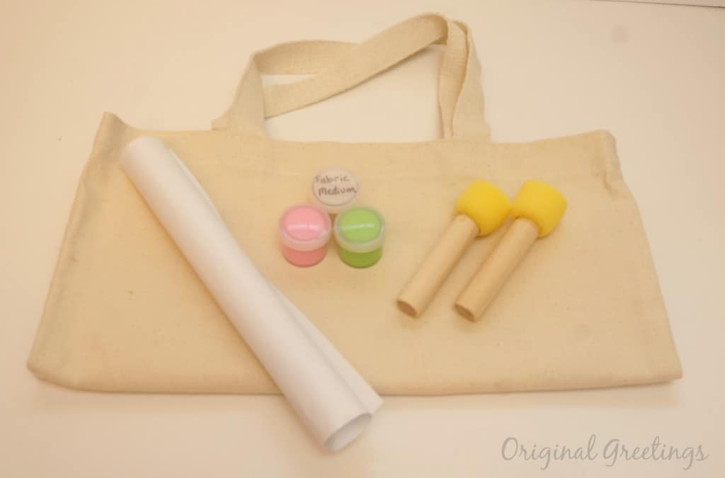 Supplies to make a stenciled tote bag. Click to order your craft kit with original stencil.