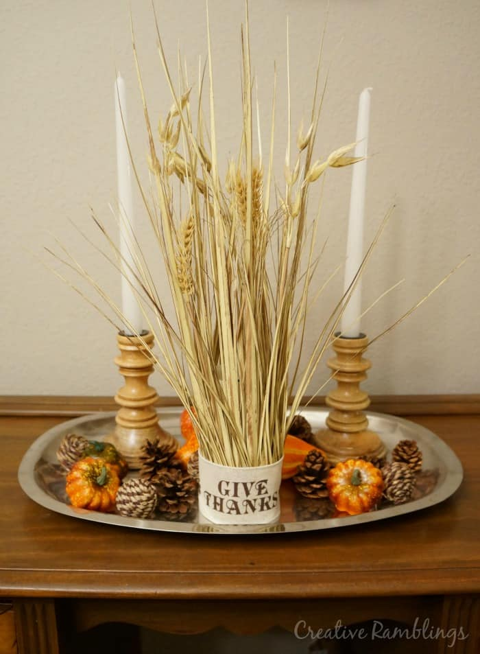 Wheat bundle Thanksgiving centerpiece and tips on preparing for a stress free Thanksgiving #HappyThanksGathering #ad