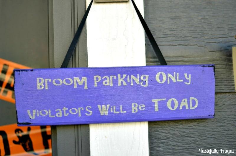 Easy Halloween Broom Parking Sign