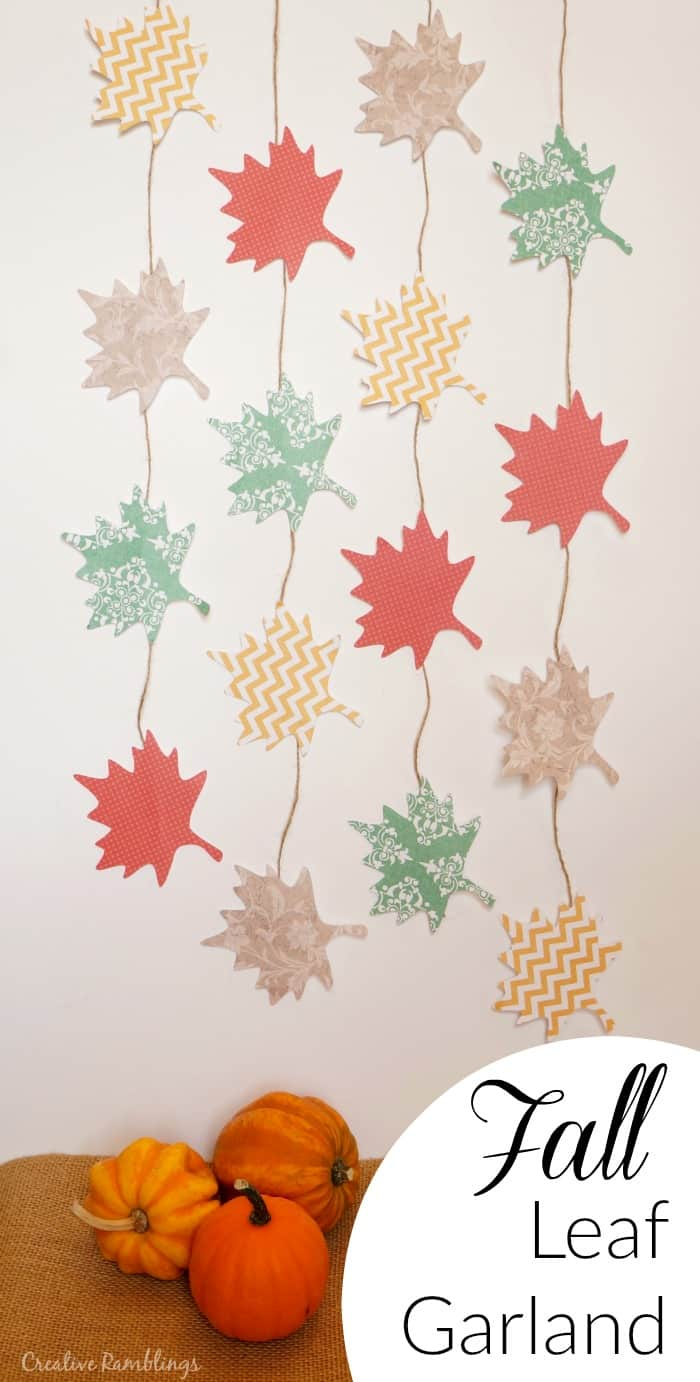 Fall leaf paper garland made with colorful geometric paper