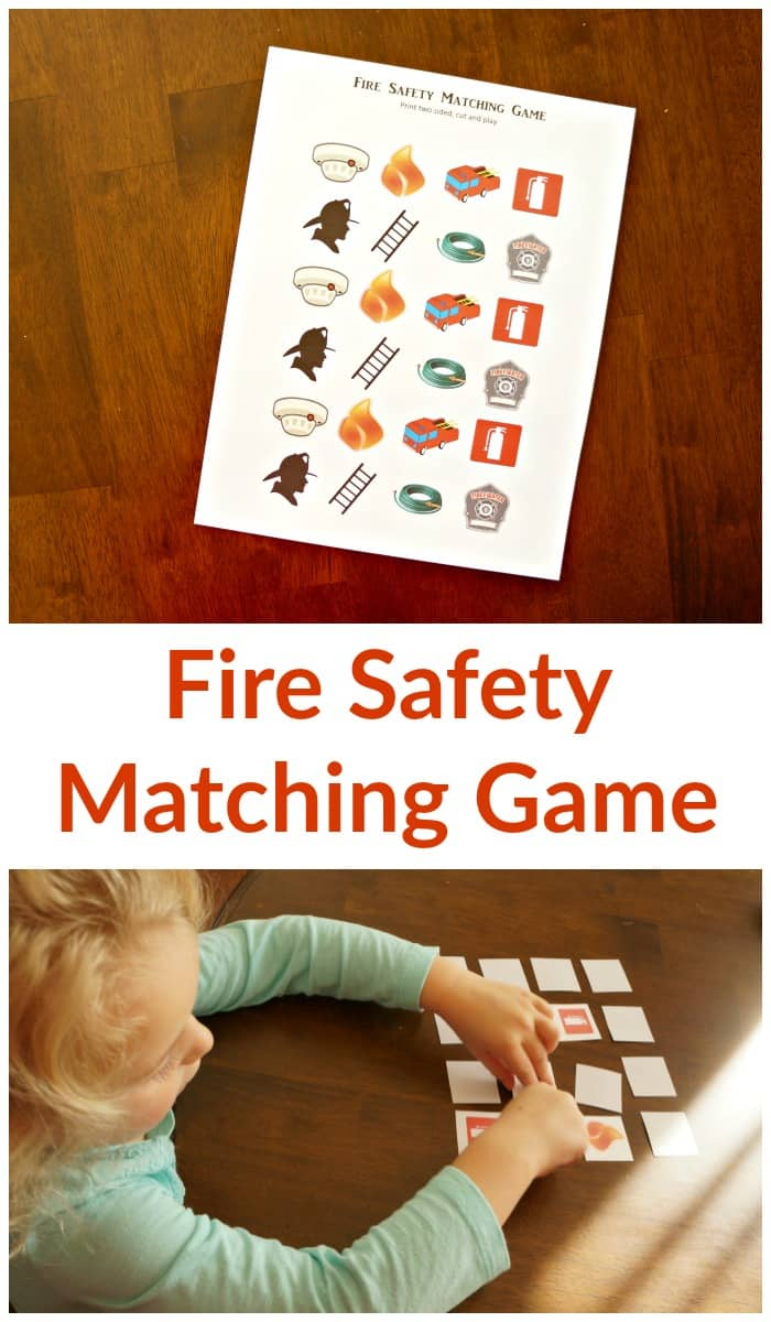 October is fire safety month, use this free download matching game to help teach your kids about fire safety. #ChangeYourClock #ad