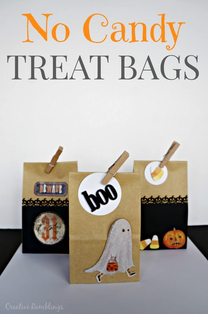 Fun alternatives to candy for Halloween. No candy Halloween trick or treat bags