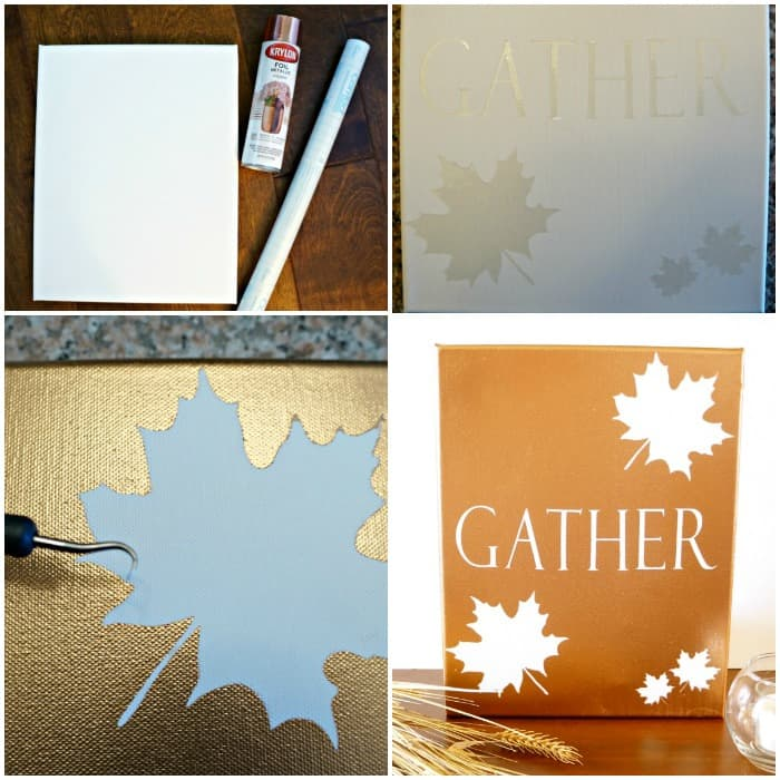 Supplies for a metallic fall canvas