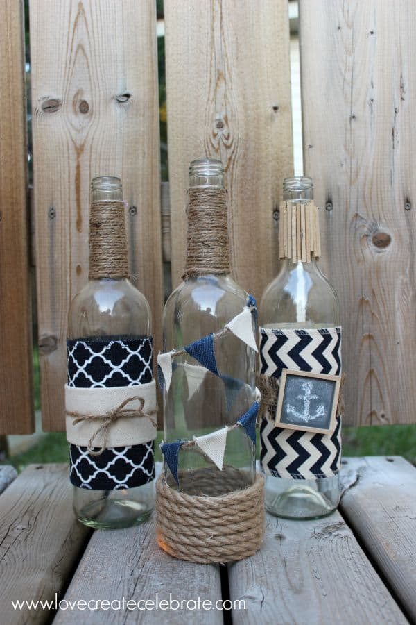 Nautical wine bottles from Love Create Celebrate