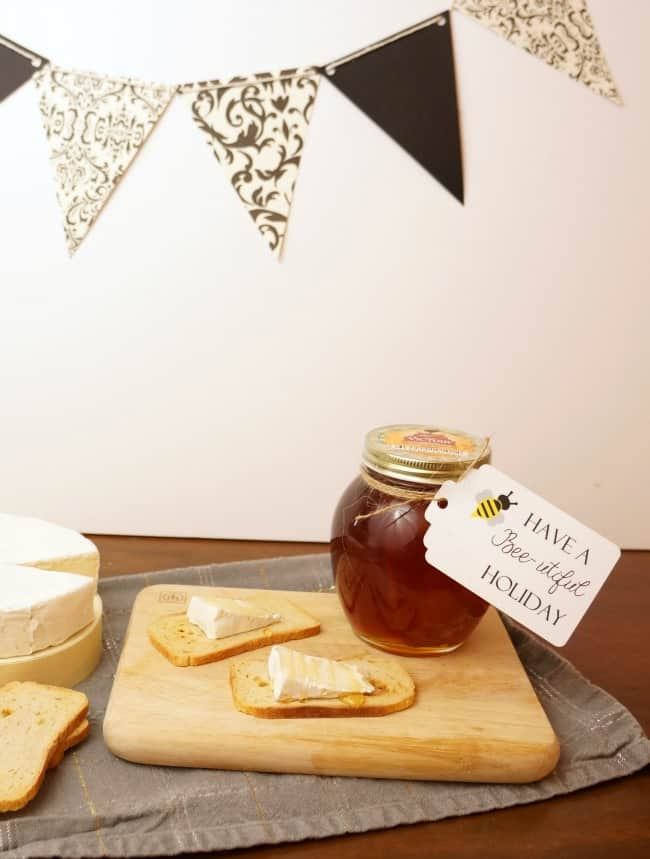 Gift honey and brie with honey comb crumbled on top for the perfect gift #honeyforholidays ad