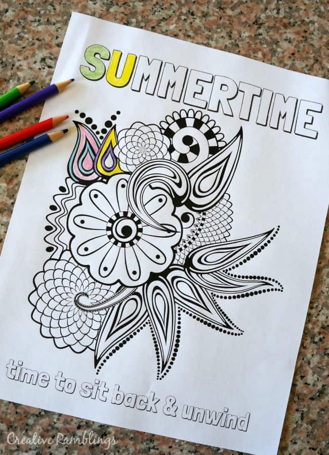 Summertime adult coloring page