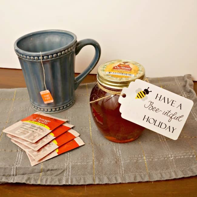 Gift honey and tea with a cute bee tag. #honeyforHolidays ad
