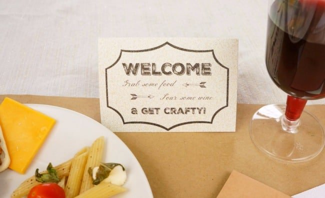Msg 4 21+ Print a welcome table tent for each guests on printable glitter paper #HolidayPairings #ad