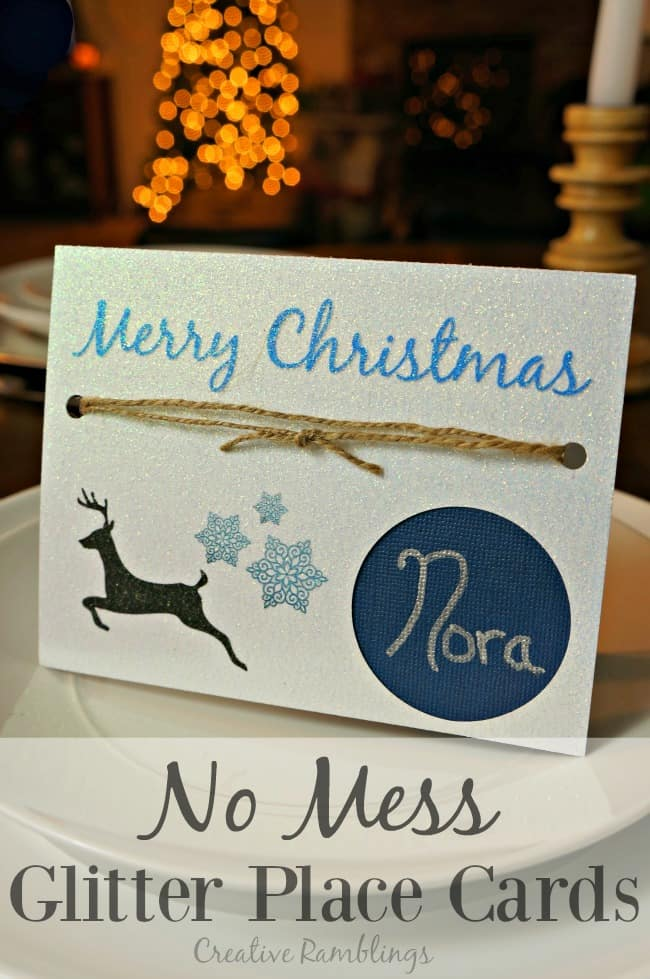 Easily create printable no mess glitter place cards #InkJetGlitter AD