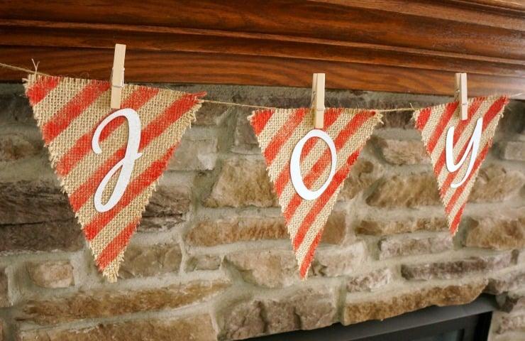 Christmas Painted Burlap Banner