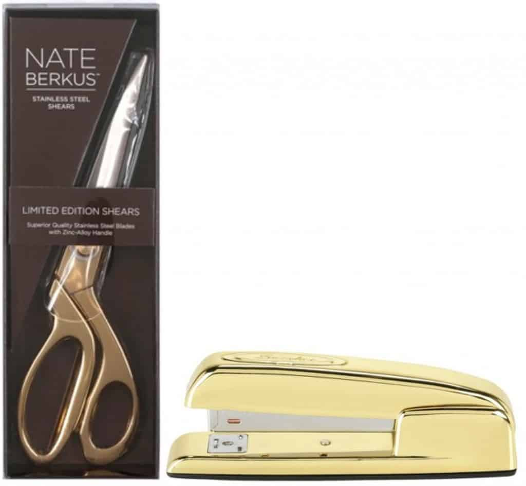 Gold office supplies. Great gift idea for a crafty girl.