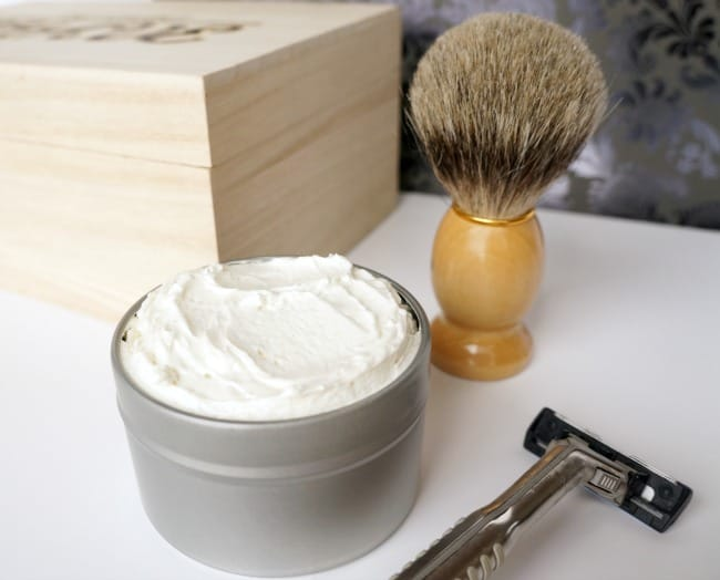 Give the gift of the perfect shave with a homemade shaving cream and engraved box