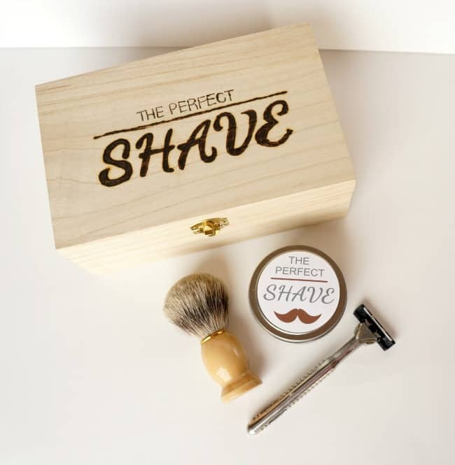Give the gift of the perfect shave. A DIY engraved box and homemade shaving cream, perfect gift for just about any man.