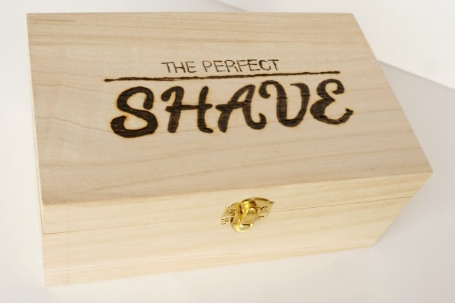 The perfect shave wood burned box