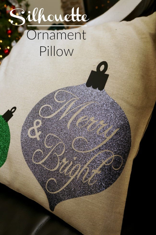 Silhouette merry and bright glitter pillow