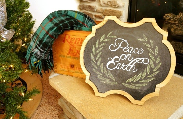 Peace on earth Christmas chalkboard sign
