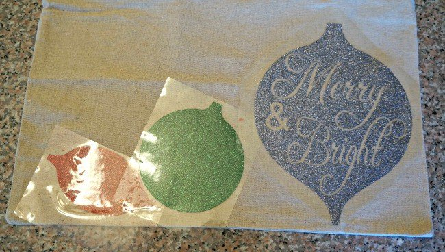 Silhouette pillow with glitter HTV