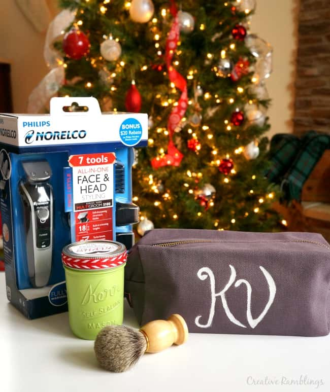 Make a simple personalized shaving kit for the man on your gift list #GiftofPhilips #Ad