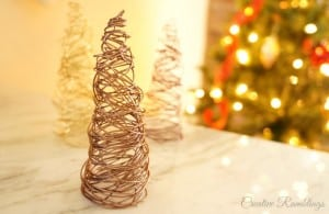 DIY wire cone trees for Christmas or winter decor