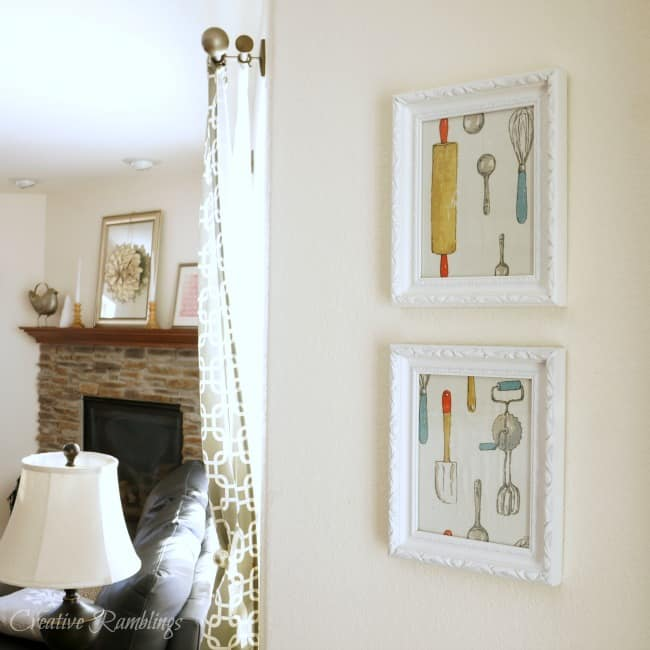 Create pretty framed kitchen art with a towel
