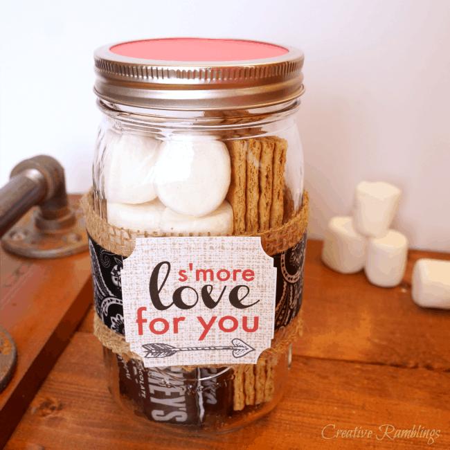 Su0027mores Mason Jar Gift For Valentineu0027s Day