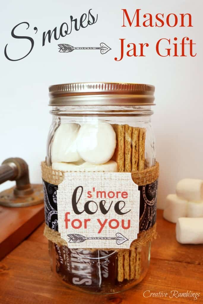 S'mores in a mason jar for Valentine's Day. A sweet gift for your Valentine.