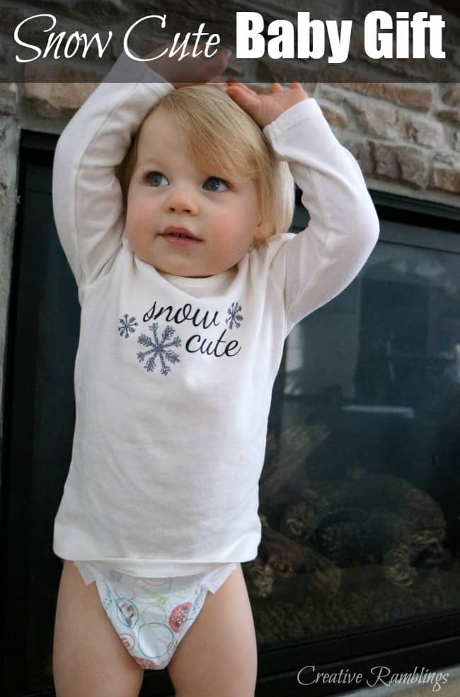A snow cute baby shirt or onesie paired with a package of Huggies makes a great gift for Moms and babies of any age #HuggiesNewYear AD