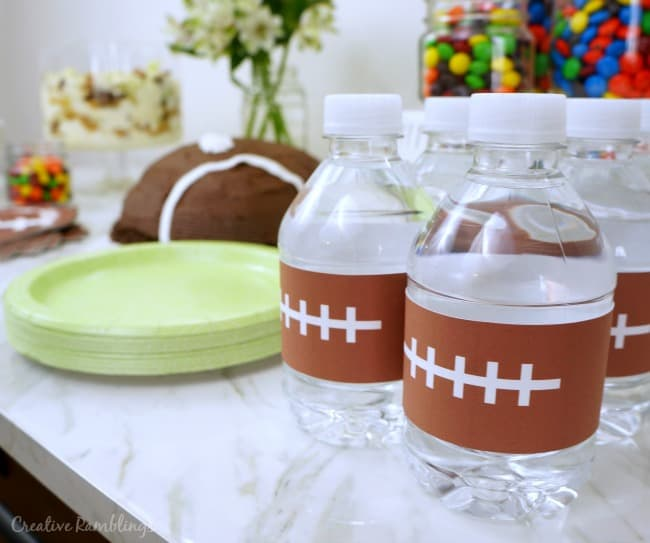 Football water bottle labels, free printable, #SweetenTheSpread AD