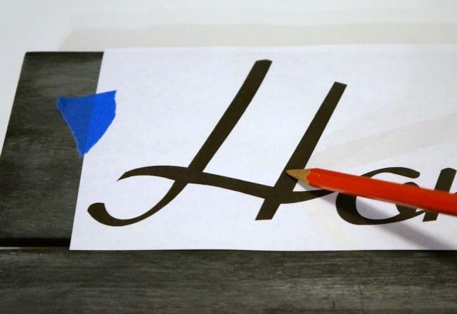 Valentine chalkboard sign, transfer letters