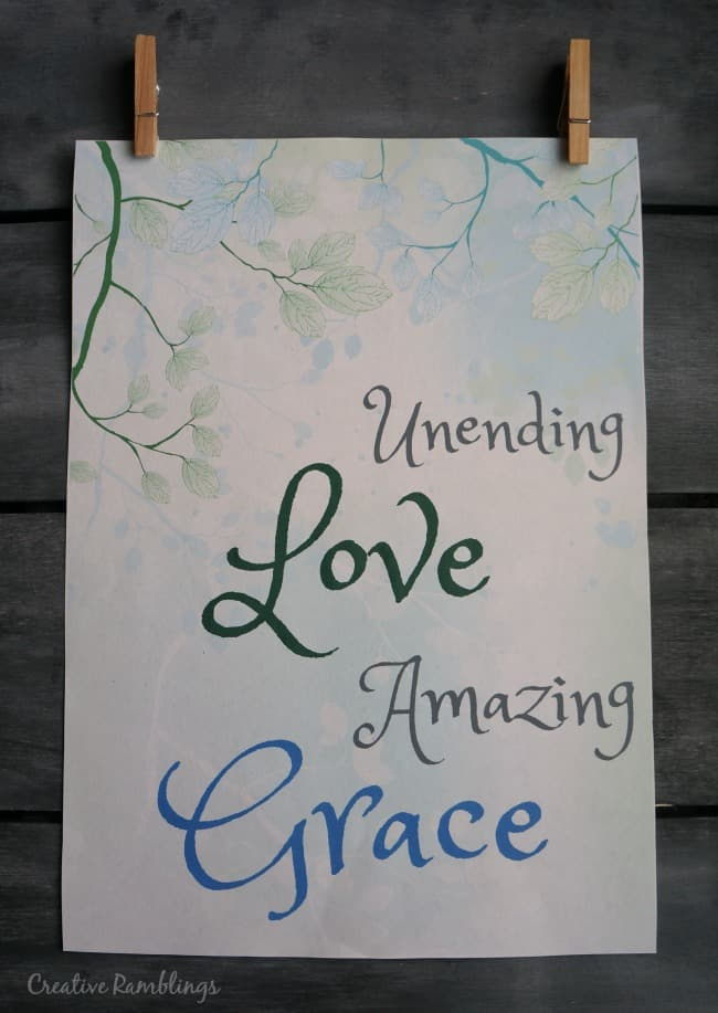 Amazing Love printable. Unending love, amazing grace. Spring Easter printable