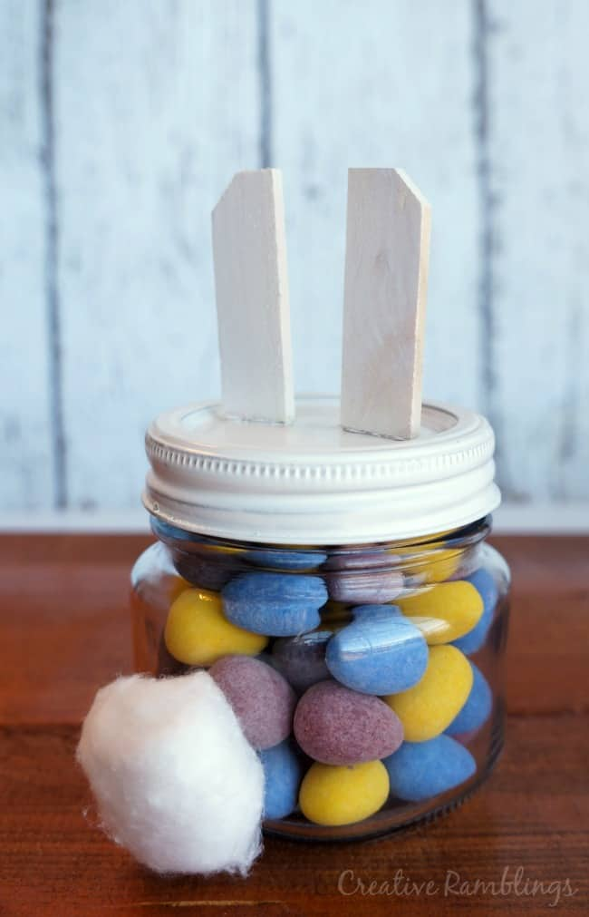 Easter Bunny Mason Jar with chocolate candy eggs