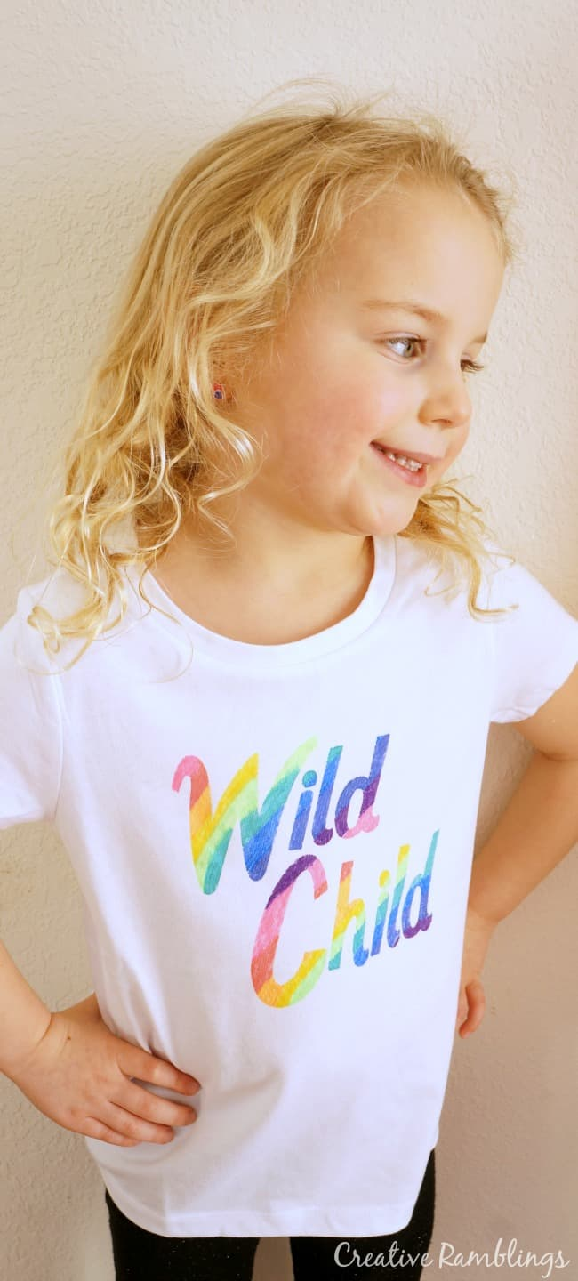 Easy Shirt with Freezer Paper Stencil and Fabric Markers. Wild Child rainbow shirt.
