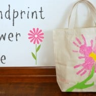 Hand print flower tote bag