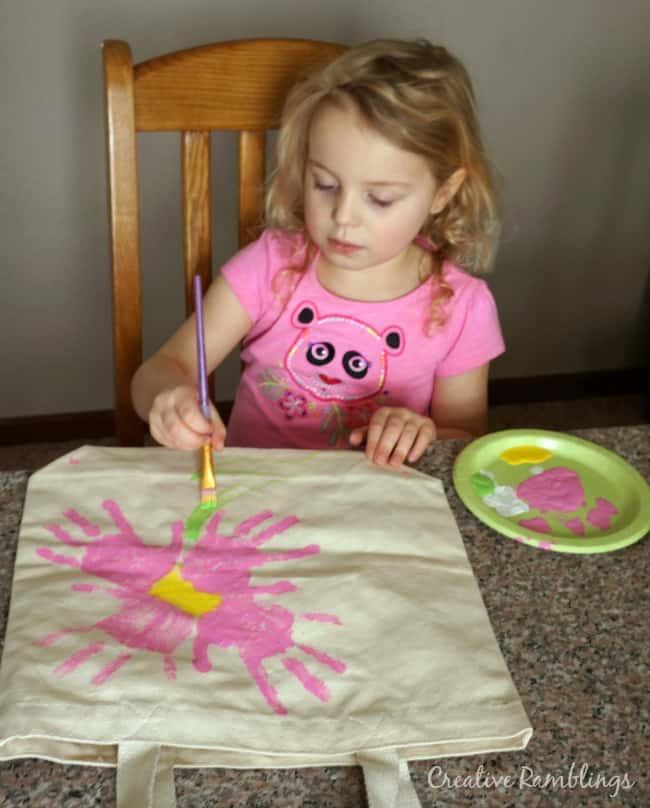 hand print flower tote bag