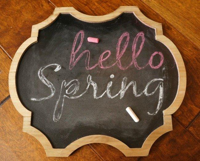 hello Spring chalkboard art