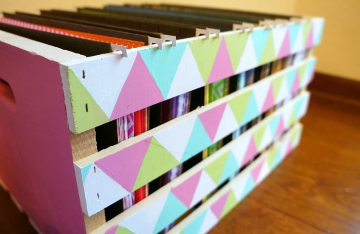 Organize scrapbook paper in a pretty painted wood crate