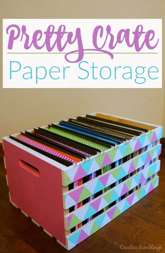Turn a simple wood crate into 8.5 x 11 paper storage using hanging files and a little paint.